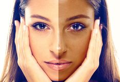 Vrouwentan halve gezichtsclose-up royalty-vrije stock foto