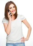 Vrouwentelefoon die roepen die op wit wordt geïsoleerd Stock Fotografie