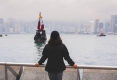 Vrouwentoerist in Hong Kong stock afbeeldingen