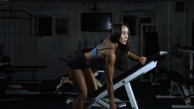 Vrouwentreinen in de gymnastiek Atletische vrouwentreinen met domoren, die zijn bicepsen pompen stock footage