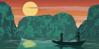 Vrouwentribune in boot gaan naar huis door lang de baai beroemd oriëntatiepunt van pasha van Vietnam, uitstekende kleur komen vector illustratie