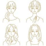 Vrouwenuitdrukkingen royalty-vrije illustratie
