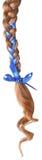 Vrouwenvlecht die met een blauwe boog wordt verfraaid die op wit wordt geïsoleerd. Royalty-vrije Stock Foto's