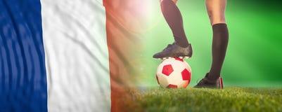 Vrouwenvoetbal, Frankrijk Vrouwelijke benen en een Franse vlag 3D Illustratie stock foto's