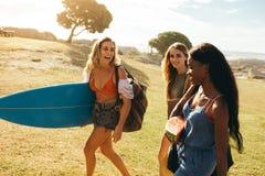 Vrouwenvrienden op een vakantie die pret hebben stock afbeelding