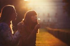 Vrouwenvrijheid en hoop Aard en harmonie Romantische zonsondergang Stock Afbeelding