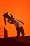 Vrouwenzanger Cleo Panther van de band van Parov Stelar levend zingen  Stock Afbeelding
