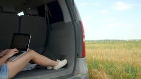 Vrouwenzitting bij de autoboomstam die laptop met behulp van stock footage