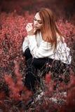 Vrouwenzitting in de rode struiken stock foto