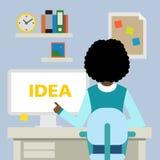 Vrouwenzitting met idee Stock Fotografie