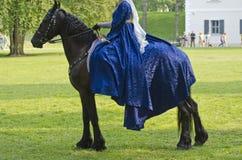 Vrouwenzitting op een paard, middeleeuws festival stock foto