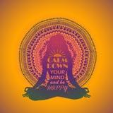Vrouwenzitting in Yoga Lotus Pose And Mandala Design Royalty-vrije Stock Foto's