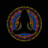 Vrouwenzitting in Yoga Lotus Pose And Mandala Design Stock Afbeeldingen