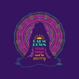 Vrouwenzitting in Yoga Lotus Pose And Mandala Design Stock Fotografie