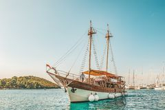8. 28. 2018. Vrsar Croatia. A beautiful sailing ship for excursions comes to the port of the city of Vrsar royalty free stock photo