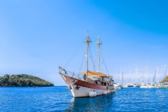 8. 28. 2012. Vrsar Croatia. A beautiful sailing ship for excursions comes to the port of the city of Vrsar stock photos