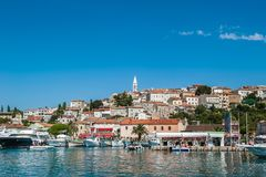 Vrsar harbour on the Adriatic sea in Istria, Croatia stock images