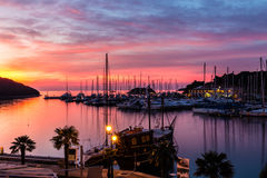 Vrsar Port During Colorful Sunset-Istria,Croatia stock photo