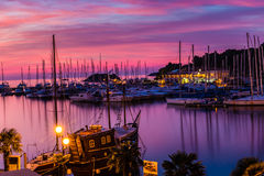 Vrsar Port During Colorful Sunset-Istria,Croatia royalty free stock photos