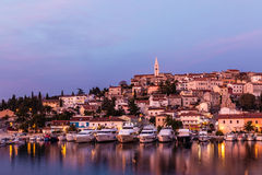 Vrsar Port And Village After Sunset-Istria,Croatia stock photos