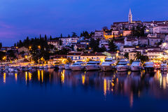 Vrsar Port And Village After Sunset-Istria,Croatia stock photo