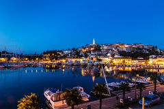 Vrsar Port And Village After Sunset-Istria,Croatia royalty free stock photos
