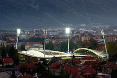 Vrt Ljudski стадиона футбола в Maribor стоковое изображение