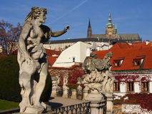 Vrtba garden, view of the Prague castle Royalty Free Stock Image