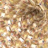 Vórtice del dinero de 50 notas euro Foto de archivo libre de regalías