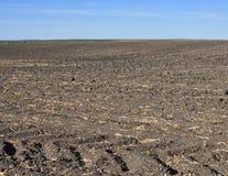 Vruchtbare, geploegde grond van een landbouwgebied Royalty-vrije Stock Afbeeldingen