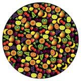 Vruchten abstracte samenstelling, verschillende vruchten pictogramreeks, vector i Royalty-vrije Stock Foto