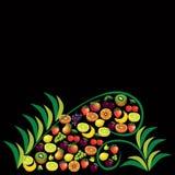 Vruchten abstracte samenstelling, verschillende vruchten pictogramreeks, vectorf Royalty-vrije Stock Foto's