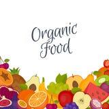 Vruchten achtergrond Gezond voedsel Vlakke stijl, vectorillustratie royalty-vrije illustratie