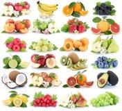 Vruchten banaan van de appelappelen van de fruitinzameling de verse oranje strawbe Royalty-vrije Stock Foto