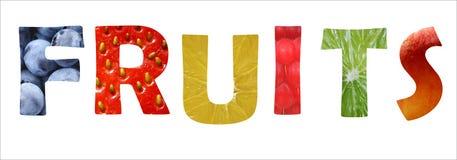 Vruchten binnen woordtekst Stock Fotografie