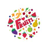 Vruchten cirkel in vlakke stijl Gezond voedsel stock foto
