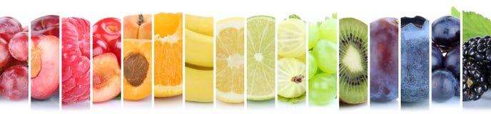 Vruchten de groep van de fruitinzameling oranje kleurrijke kleurenbanaan B Stock Afbeeldingen
