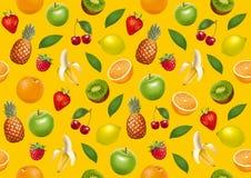 Vruchten eindeloze bacground Gele versie Stock Foto's
