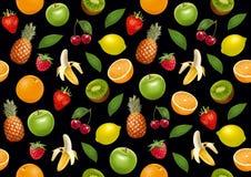 Vruchten eindeloze bacground Zwarte versie Royalty-vrije Stock Afbeelding