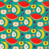 Vruchten en bessen naadloos patroon Royalty-vrije Stock Afbeeldingen
