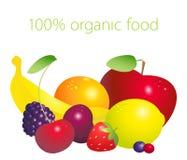 Vruchten en bessenreeks met 100 percenten het organische van letters voorzien geïsoleerd op witte achtergrond Gezond levensstijlc Stock Foto's