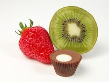Vruchten en chocoladestilleven Royalty-vrije Stock Fotografie