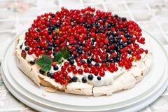 Vruchten en de cake van schuimgebakjePavlova Stock Foto's