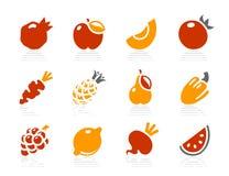 Vruchten en de pictogrammen van Groenten Stock Foto's