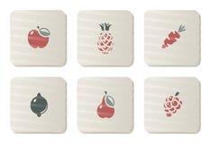 Vruchten en de pictogrammen van Groenten | De reeks van het karton Stock Afbeelding