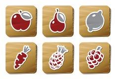 Vruchten en de pictogrammen van Groenten | De reeks van het karton Stock Foto's
