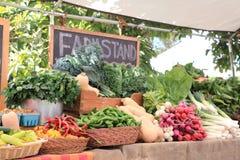Vruchten en groenten bij markt Royalty-vrije Stock Afbeeldingen