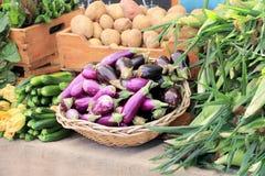 Vruchten en groenten bij markt Royalty-vrije Stock Fotografie
