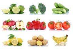 Vruchten en groenten de inzameling geïsoleerde citroen B van appeltomaten royalty-vrije stock foto's