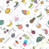 Vruchten en groenten de naadloze stijl van patroonmemphis, vegetarische reeks, de zomer geïsoleerde kleuren vectorpictogrammen royalty-vrije illustratie
